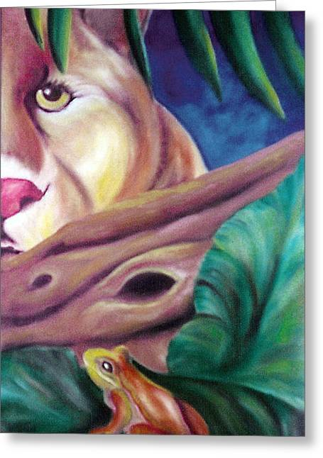 Juliana Dube Greeting Cards - Lioness and frog Greeting Card by Juliana Dube