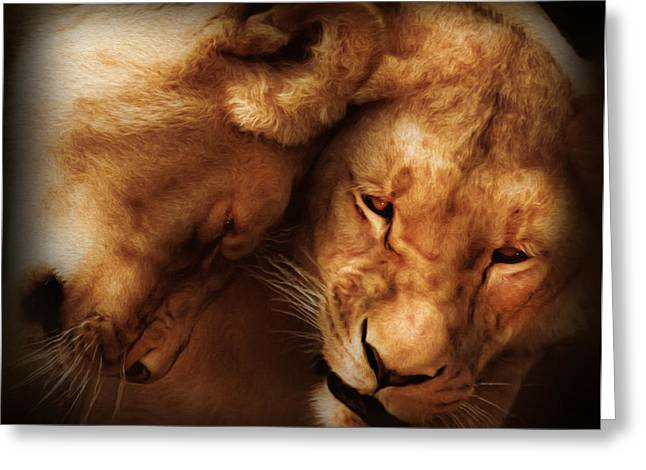 Gift For Her Greeting Cards - Lioness Love Greeting Card by Georgiana Romanovna