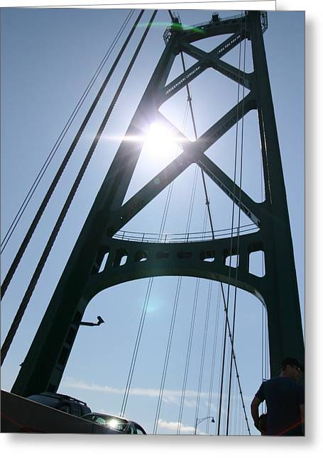 Lions Gate Bridge Vancouver Bc Greeting Card by JM Photography
