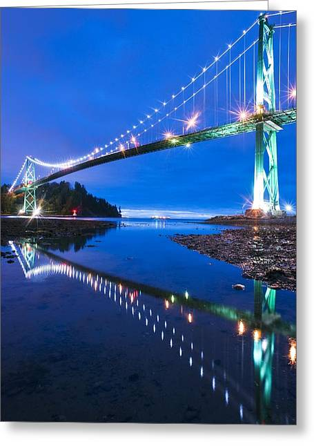North Vancouver Greeting Cards - Lions Gate Bridge, Vancouver, Canada Greeting Card by David Nunuk