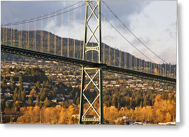 Lions Gate Bridge Vancouver Greeting Card by Marlene Ford