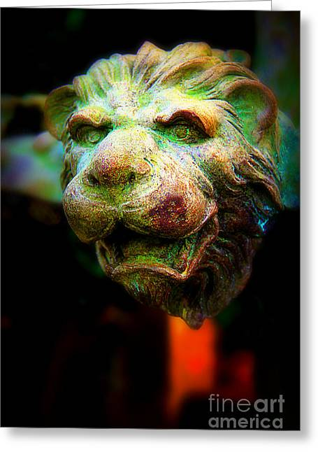 Copper Green Greeting Cards - Lions Head Greeting Card by Perry Webster