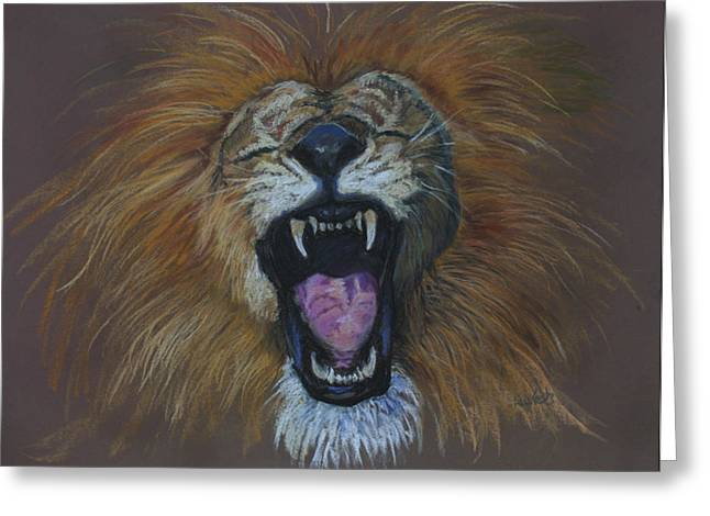Isaiah Pastels Greeting Cards - Lions Roar - Fearless Greeting Card by Ann Lukesh