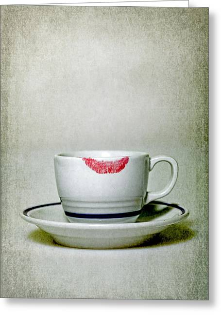 Cup Greeting Cards - Lip Marks Greeting Card by Joana Kruse