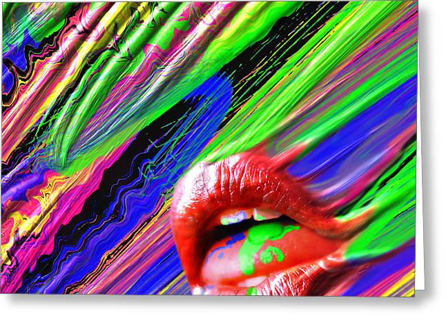 Bright Colors Glass Greeting Cards - Lips of Color Greeting Card by Lance  Kelly