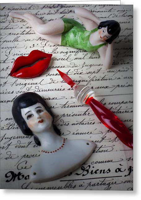 On Paper Photographs Greeting Cards - Lips pen and old letter Greeting Card by Garry Gay