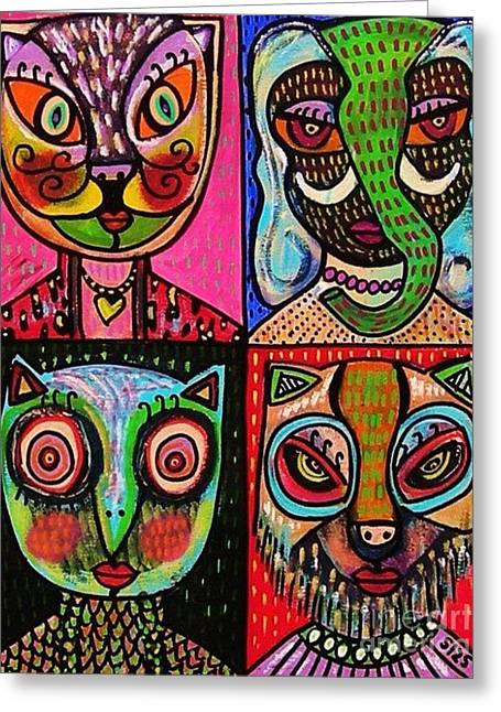 Animals Love Greeting Cards - Lipstick Animal Goddesses Greeting Card by Sandra Silberzweig