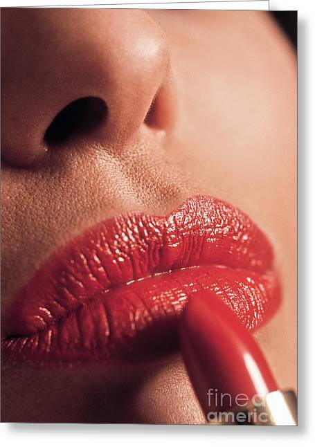 Women Only Greeting Cards - Lipstick Greeting Card by Juan  Silva
