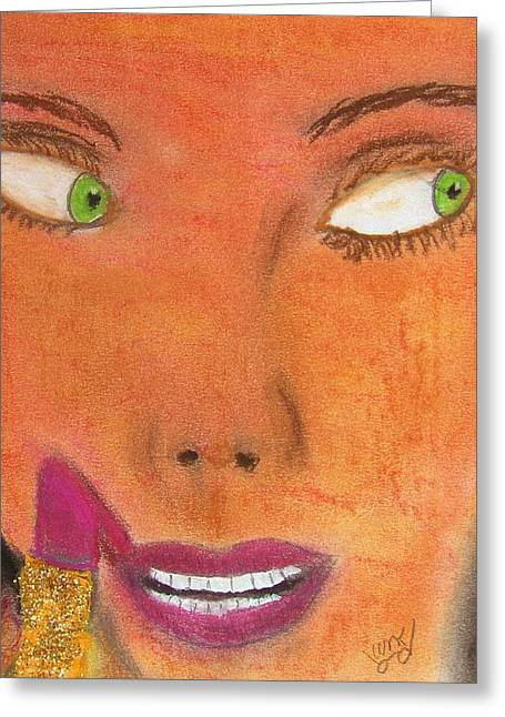 Lipstick Pastels Greeting Cards - Lipstick Slip 2 Greeting Card by M and L Creations
