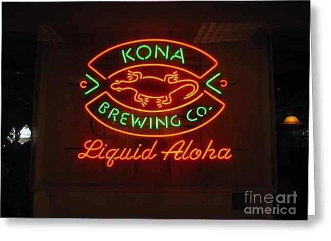 Kona Brewing Greeting Cards - Liquid Aloha Greeting Card by Bruce Borthwick