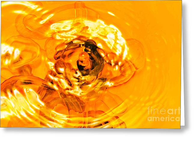 Transparent Mixed Media Greeting Cards - Liquid Gold Greeting Card by Andee Design