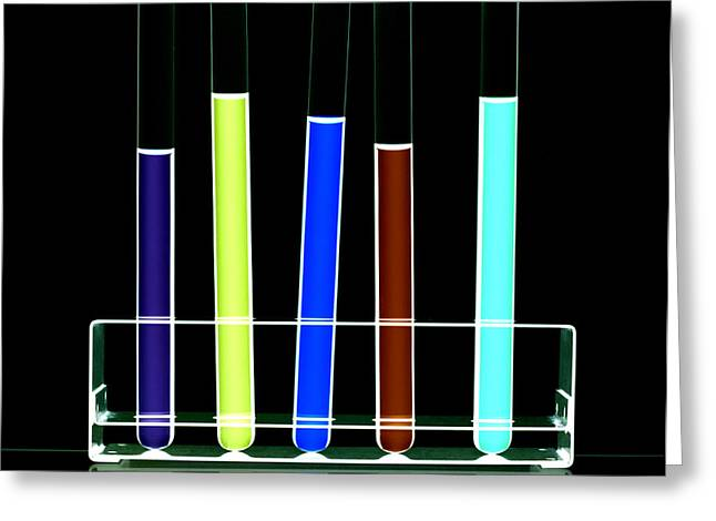 Rack Greeting Cards - Liquid In Test Tubes Greeting Card by Kevin Curtis