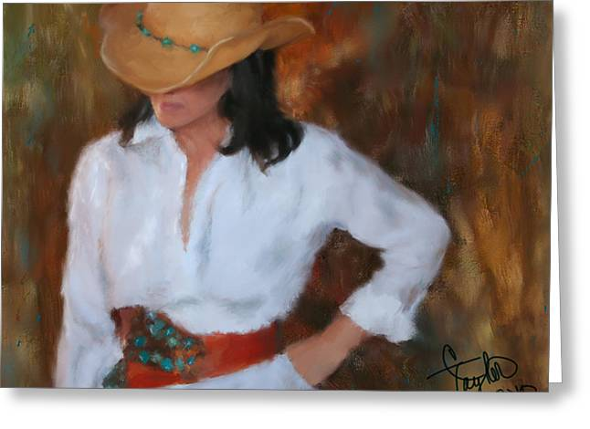 Cowgirl And Cowboy Greeting Cards - Liquid Turquoise Greeting Card by Colleen Taylor