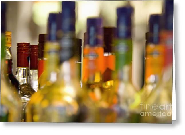 Liquor Bottles Greeting Card by Shannon Fagan