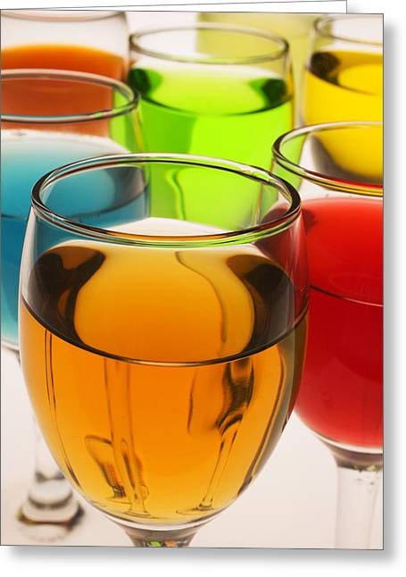 Liquor Greeting Cards - Liquor Glasses Greeting Card by Garry Gay