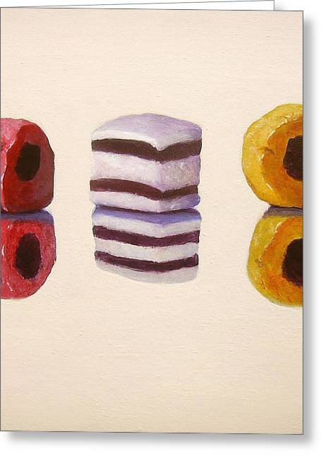 Licorice Paintings Greeting Cards - Liquorice Allsorts Greeting Card by Nikki Rosetti