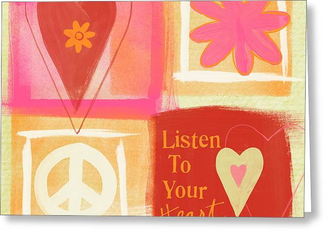 Valentines Day Greeting Cards - Listen To Your Heart Greeting Card by Linda Woods