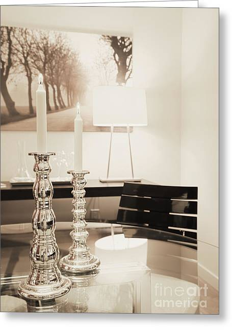 Glass Table Reflection Greeting Cards - Lit Candles in Silver Candlesticks Greeting Card by Andersen Ross