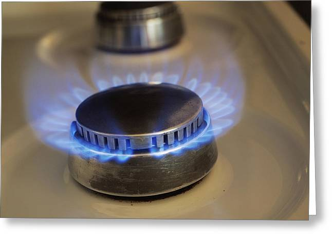 Hob Greeting Cards - Lit Gas Ring Greeting Card by Andrew Lambert Photography