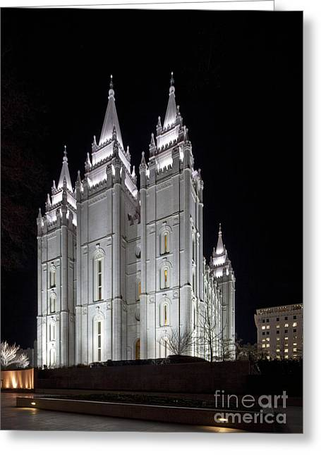 Illuminate Greeting Cards - Lit Gothic Cathedral at Night Greeting Card by Francis Zera