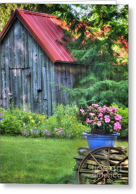 Farmhouse Greeting Cards - Litchfield Hills Summer Scene Greeting Card by Thomas Schoeller