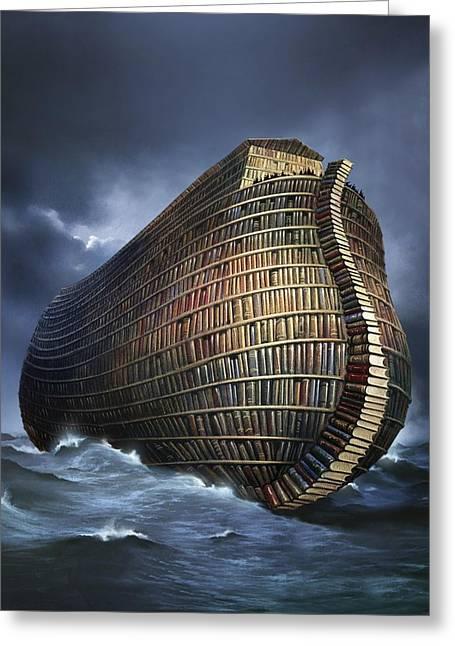 Ocean Sailing Greeting Cards - Literary Ark, Conceptual Artwork Greeting Card by Smetek