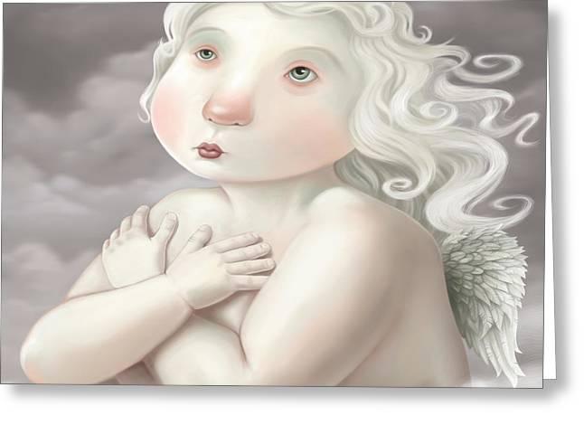 Cute Digital Art Greeting Cards - Little Angel Greeting Card by Simon Sturge