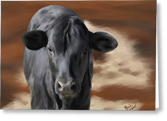 Black Angus Calf Greeting Cards - Little Angus Greeting Card by Marie Wagner