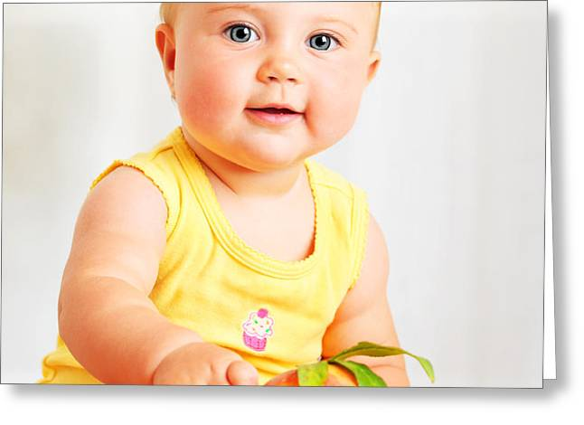 Little baby choosing fruits Greeting Card by Anna Omelchenko