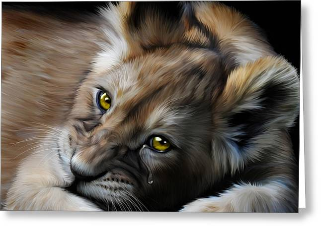 Lions Greeting Cards - Little Baby Lost Greeting Card by Julie L Hoddinott