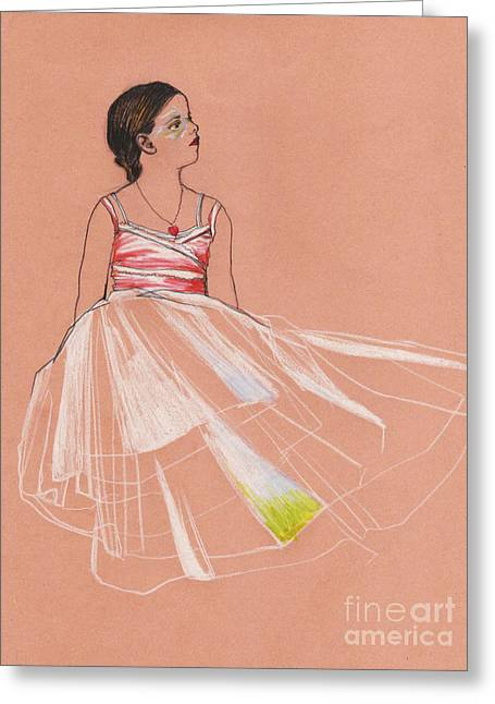 Pendants Drawings Greeting Cards - Little Ballerina Greeting Card by Mar Ramos