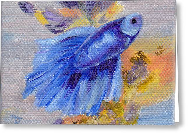 Betta Paintings Greeting Cards - Little Blue Betta Fish Greeting Card by Brenda Thour