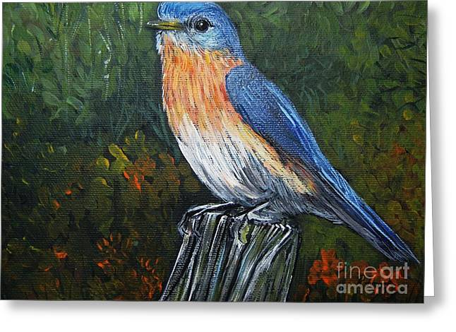 Nature Scene Paintings Greeting Cards - Little Blue Bird Greeting Card by Reb Frost