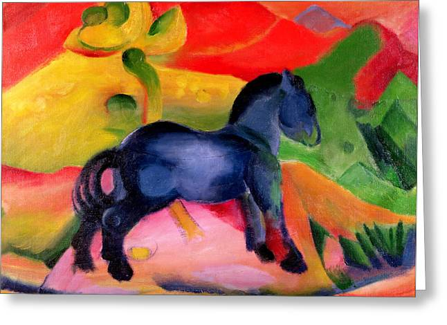 Blue Horse Greeting Cards - Little Blue Horse Greeting Card by Franz Marc