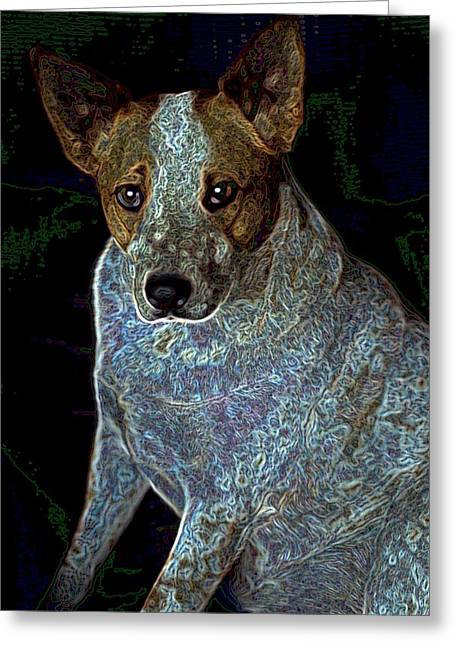 Little Blue Greeting Card by One Rude Dawg Orcutt