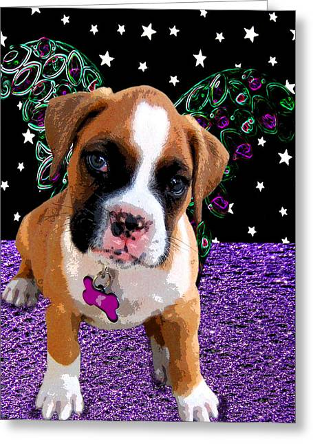 Puppy Greeting Cards - Little Boxer Butterfly Greeting Card by Tisha McGee