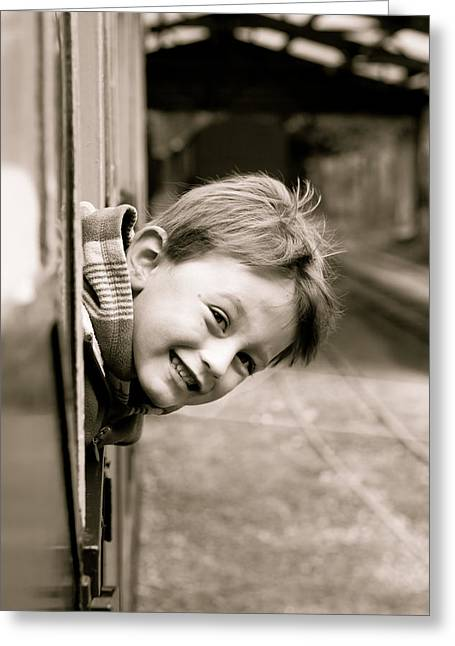 Description Greeting Cards - Little boy leaning out of a train window Greeting Card by Tom Gowanlock