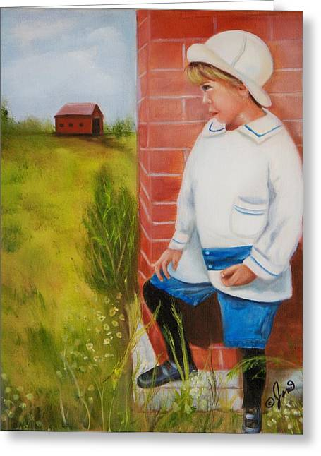 Boys Greeting Cards - Little Boy Waiting Greeting Card by Joni M McPherson