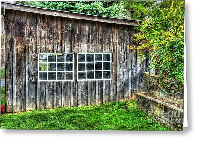 Shed Greeting Cards - Little Brown Shed Greeting Card by Debbi Granruth