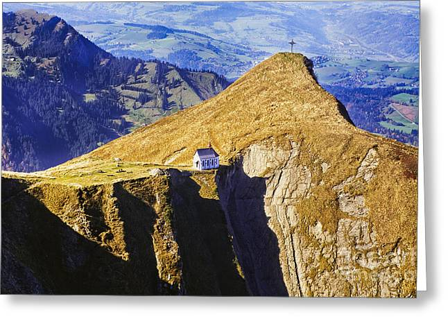 Little Chapel on the Mountain Greeting Card by George Oze