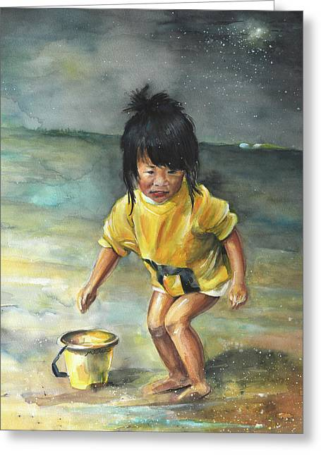 China Beach Greeting Cards - Little Chinese Girl on The Beach Greeting Card by Miki De Goodaboom
