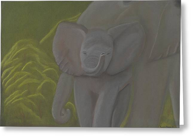 Elephant Pastels Greeting Cards - Little Elephant Greeting Card by Vonna Beam