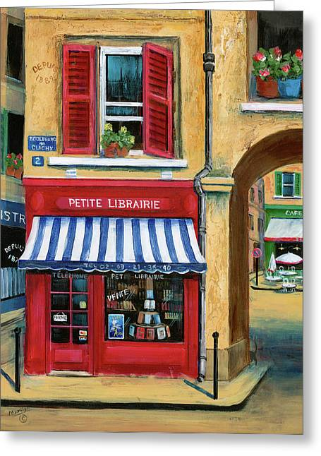 French Shops Greeting Cards - Little French Book Store Greeting Card by Marilyn Dunlap