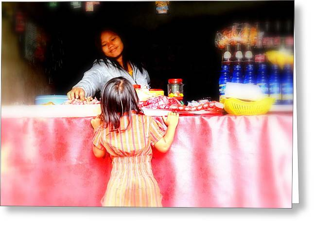 Graffitis Greeting Cards - Little Girl Candy Shopping in Ubud  Greeting Card by Funkpix Photo Hunter