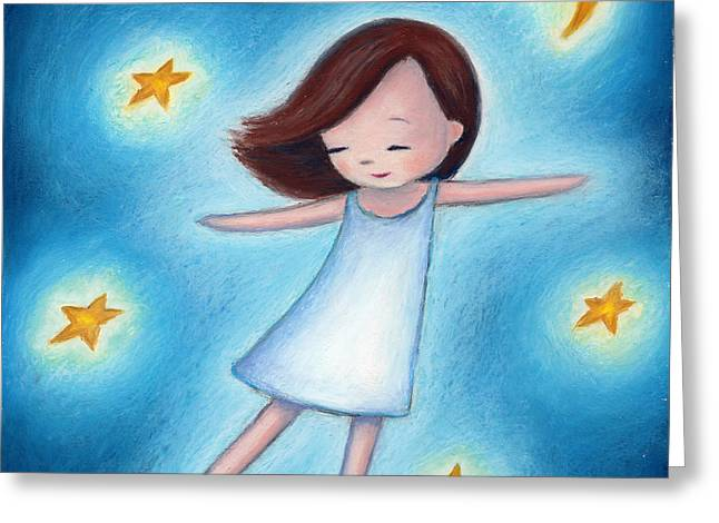 Childish Dreams Greeting Cards - Little Girl Flying With Stars Greeting Card by Anna Abramska