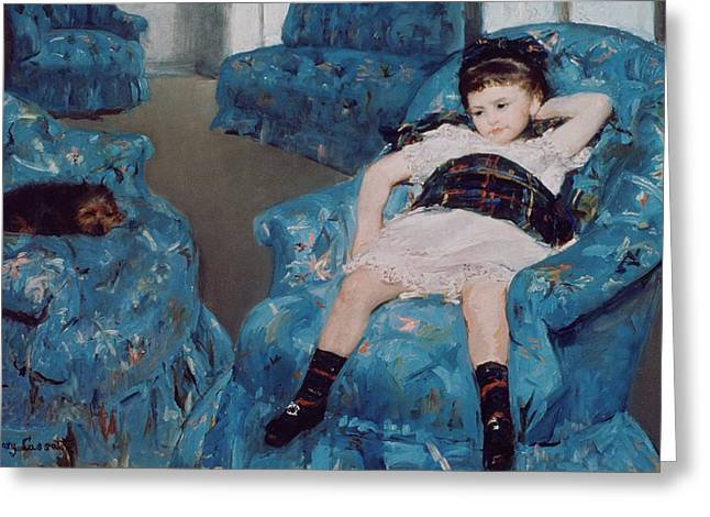 Lounge Paintings Greeting Cards - Little Girl in a Blue Armchair Greeting Card by Mary Stevenson Cassatt