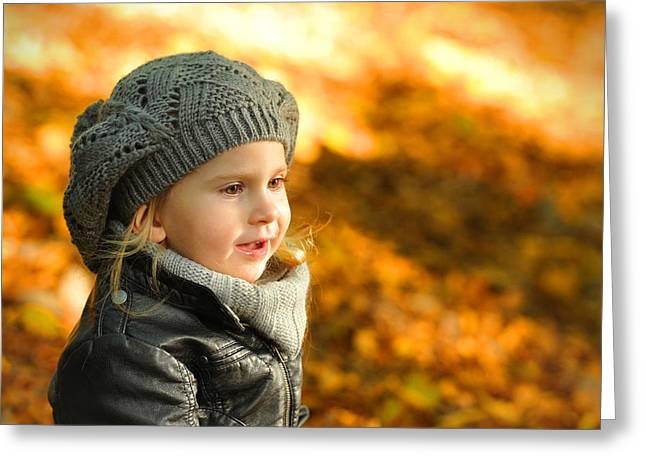 Doggy Clothes Greeting Cards - Little girl in autumn leaves scenery at sunset Greeting Card by Waldek Dabrowski