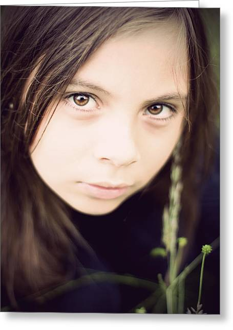 Desperate Greeting Cards - Little girl in field with huge eyes Greeting Card by Ethiriel  Photography