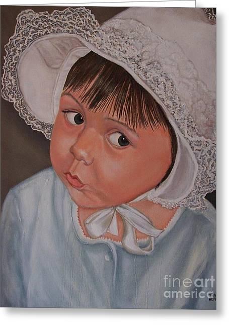 Little Girl Portrait With White Hat Greeting Cards - Little Girl with Lace Hat Greeting Card by Jane Honn