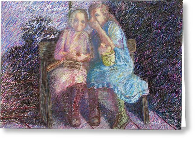 Old School House Pastels Greeting Cards - Little Girls Telling Secrets Greeting Card by Caroline Stockwell